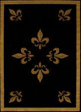 Black Contemporary Carpet All-Over Flur De Lis Solid Bordered  Olefin Area Rug