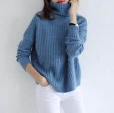 New Women High Collar Cashmere Sweater Wool Long Sleeve Loose Coat Tops Sbox14