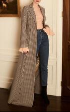 Neuf CAROLINE Constas Chiffon Maxi longueur Manteau noir brun tweed XS S