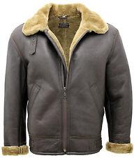 Para Hombres Aviador B3 Jengibre real de piel de oveja de piel de cordero cuero chaqueta de bombardero de vuelo