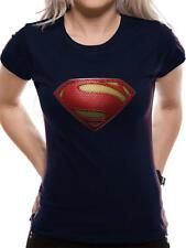 El Hombre de Acero Woman's Dc Oficial Azul Algodón Logo De Superman Camiseta Manga Corta