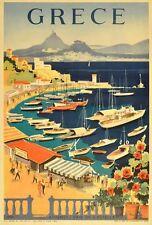 VINTAGE Grecia il turismo del Pireo Atene POSTER A3 stampa