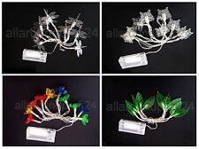 10 er LED Lichterkette Motive Libellen Schmetterlinge Blüten Blätter Batterie