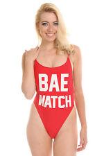 "Halloween Costume Red ""BAE WATCH"" Baywatch One Piece High Cut Vintage Swimsuit"
