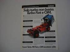 advertising Pubblicità 1981 TURBO 190 FIAT e OM