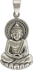 925 Sterling Silver Large Buddha Pendant Necklace Namaste Buddhist Spiritual 869