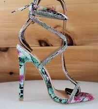 """Seren Multi Snake Tie Up Strappy Rhinestone Stiletto - 4.5"""" High Heel Shoes"""