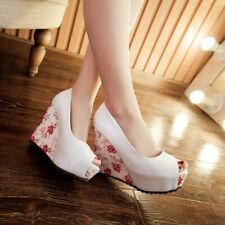 Ladies Womens Wedge High Heel Peep Toe Platform Pumps Shoes UK Size 1--7 C188
