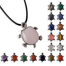 Natural Turquoise Quartz Crystal Gemstone Turtle Reiki Silver Pendant Necklace