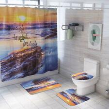 4 Pcs Bathroom Rug Set Shower Curtain Bath mat Skidproof Toilet Seat Lid Cover
