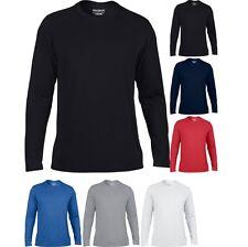 Mens Gildan Performance Long Sleeve 100% Polyester Jersey Knit T Shirt Top