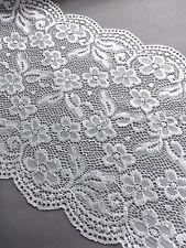 VINTAGE soft stretch lace 20cm wide Bridal Dress Belt Off White Ivory sewing- 1M