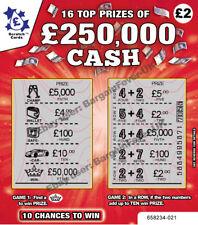FAKE JOKE LOTTERY SCRATCH CARDS TICKETS  £50,000 + £250,000 EBAY No1