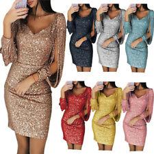 Women Sexy V-neck Sequins Glitter Dress Party Evening Dresses Gown Plus Size 4XL