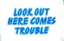 Bambini BIMBI BIANCO BIKER BAMBINO Slogan T-shirt - look Out here comes trouble