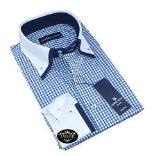 NUOVO formale da uomo casual blu bianco a Scacchi doppio collo camicia aderente