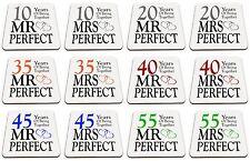 Pair of Mr Right & Mrs Perfect Anniversary (1st - 70th) Glossy Mug Coasters
