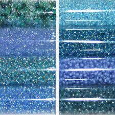 Miyuki Rocailles 11/0 rund 2 mm Blau türkis, hellblau a ca. 9,9g = 1 Röhrchen