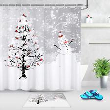 Pottery barn ski lodge shower curtain winter sport bath tree snow cabin gift NEW