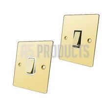 10 Amp 2 Way Single Light Switch 1 Gang in Polished Shiny Mirror Brass FLAT