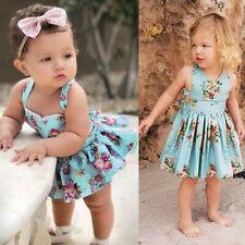 Newborn Infant Baby Girls Backless Sleeveless Floral Print Romper Dress Sundress