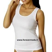 3 Canotte donna Vajolet spalla larga in caldo cotone con profili cotone art 5631