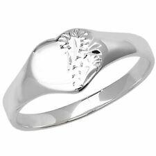 925 Sterling Silver Baby, Children, Girls, Kids Engraved Heart Signet Rings