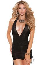 Black deep V adjustable halter nightclub mini dress