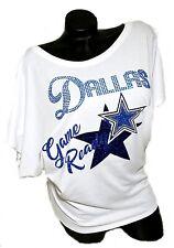 Dallas Game Ready Ladies White Flowy Draped Slv. Dolman Tee~Cryst. & Shiny Ltrg.