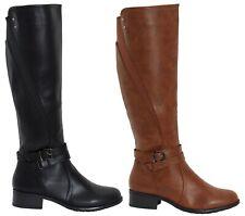 Womens Zip Up Shoes Ladies Buckle Knee Length High Block Heel Low Boots Size UK