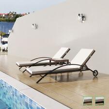 vidaXL 3-tlg. Sonnenliege Set Poly Rattan Relaxliege Gartenmöbel + Beistelltisch