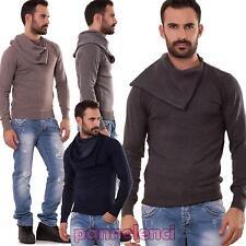 Pullover uomo maglione collo alto morbido maniche lunghe maglia nuovo ND6859