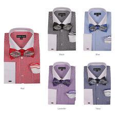 Men's Checked Dress Shirt w/ Bow Tie & Flower Hanky Set 628 French Cuff