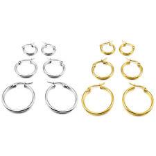 3 pairs 15mm 20mm 25mm Stainless Steel Hoop Huggies Earrings Set Woman V8D1