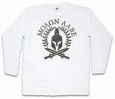 Spartan motto Manica lunga T-shirt Motto Sparta Spartani CASCO Leonidas 300