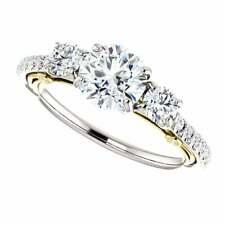 1.05Ct Three Stone Moissanite Diamond Engagement Wedding Ring In 14k Rose Gold