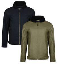 Ringspun Mens Borg Sherpa Collar Cotton Flight Jacket Winter Casual Fashion Coat
