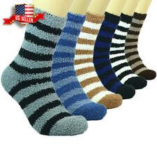 Lot 3-12 Pairs Mens Soft Cozy Fuzzy Warm Striped Slipper Crew Socks Size 9-13