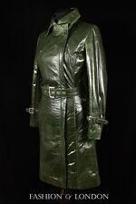 Señoras Florencia Verde diseñador a la rodilla largo Gabardina Cuero Chaqueta Mac