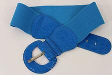Women Cobalt Blue Fashion Belt Elastic Hip High Waist Stretch Wide Faux Leather