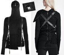 Haut pull capuche intégrale gothique punk lolita bretelles sangles cuir Punkrave
