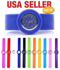 Unisex Sport Diy Quartz Plastic Slap Wrist Silicone Fun Watch W3