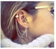 Punk Rock Leaf Chain Tassel Dangle Ear Stud Cuff Wrap Earrings Eardrop Gift PP1