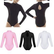 Girls Leotard Polo Turtle Neck Ballet Dance Long Sleeve Black Shiny Nylon Lycra