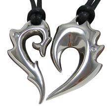 Edelstahl Partner Anhänger Drachen+Phönix = Herz Dragon Phoenix Partnerkette