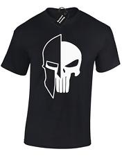Spartan Teschio da Uomo T Shirt Bodybuilding Allenamento Top Palestra Sollevamento mma crossfit