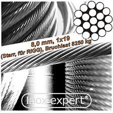VA-Seil 8 mm 1X19 RIGG-Drahtseil Edelstahl A4 WANTEN Stahlseil NIRO Stahldraht