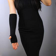 Cashmere Wool Fingerless Gloves Half Finger Arm Warmer Black Elbow Opera Long