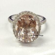 Morganite Engagement Promise Ring,.40ct Diamonds,Oval 10x12mm,14K White Gold
