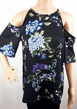 Ex Dorothy Perkins Ladies BLACK Floral Print Cold Shoulder Top Size 6 - 20
